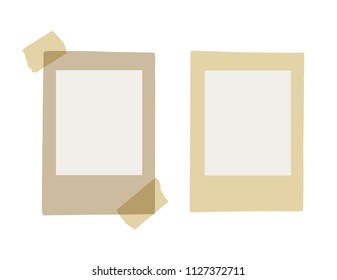 Real vintage brown frames of old photos - identity card (ID). With adhesive tapes.  Place for your photo. Isolated on a white background. Vector Eps 10.