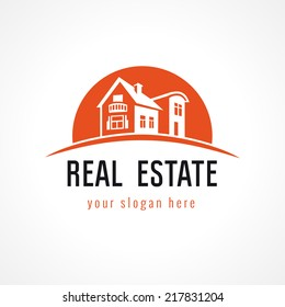 Real-estate vector logo. House for sale. Icon for own property agency, building, lease, insurance, buying, invest, landscaping or hotel business. Country houses and cottages in sunset vintage symbol.