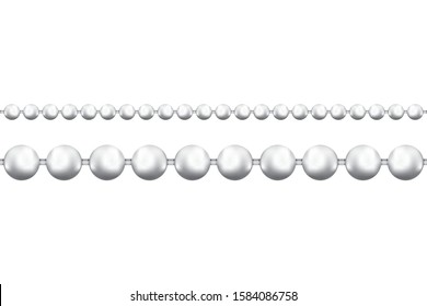 Realictic Metal Beads Chain on a white background. Vector illustration