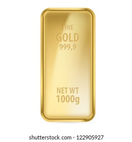 Realictick gold bar on the white background