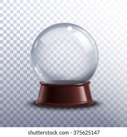 Realisitc 3d snow globe toy isolated on transparent background vector illustration