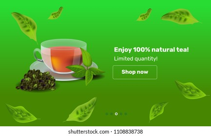 Realism style vector illustration design template for banner or advertising. Cup of tea