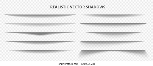 Realistic 10 multiple vector shadow effects with transparent background.