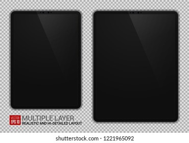 Realistic 11 inch and 12.9 inch Drawing Pad Isolated. Grey / Space Gray Scalable Tablet. Front Display View. High Detailed Device Mockup. Separate Groups and Layers. Easily Editable Vector.