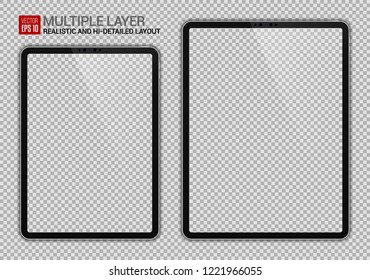 Realistic 11 inch and 12.9 inch Drawing Pad Isolated. Silver / White Scalable Tablet. Front Display View. High Detailed Device Mockup. Separate Groups and Layers. Easily Editable Vector.