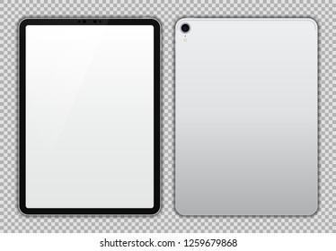 Realistic 11 inch Drawing Pad. Silver Tablet. White / Blank Screen Isolated. Front and Back Display View. High Detailed Device Mockup. Separate Groups and Layers. Easily Editable Vector