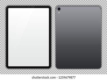 Realistic 11 inch Drawing Pad. Grey / Space Gray Tablet. White / Blank Screen Isolated. Front and Back Display View. High Detailed Device Mockup. Separate Groups and Layers. Easily Editable Vector