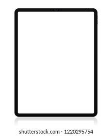 Realistic 12.9 inch Scalable Drawing Pad Isolated. Grey / Space Gray Tablet.  Front Display View. High Detailed Device Mockup. Separate Groups and Layers. Easily Editable Vector.