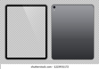 Realistic 12.9 inch Scalable Drawing Pad Isolated. Grey / Space Gray Tablet.  Front and Back Display View. High Detailed Device Mockup. Separate Groups and Layers. Easily Editable Vector.