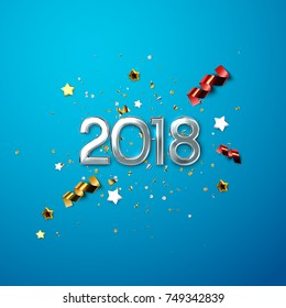 Realistic 2018 silver numbers and festive confetti, stars and streamer ribbons on blue background. Vector holiday illustration. Happy New 2018 Year. New year ornament. Decoration element with tinsel