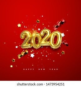 Realistic 2020 golden numbers and festive confetti, stars and spiral ribbons on red background. Vector holiday illustration. Happy New 2020 Year. New year ornament. Decoration element with tinsel