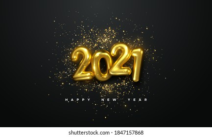 Realistic 2021 golden numbers and festive confetti on black background. Vector holiday illustration. Happy New 2021 Year. New year ornament. Decoration element with tinsel