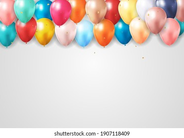 Realistic 3d balloon background for party, holiday, birthday, promotion card, poster. Vector Illustration