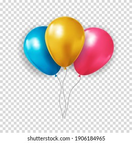 Realistic 3d balloon collection set on transparent background for party, holiday. Vector Illustration