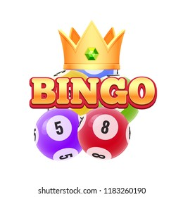 Realistic 3D balls with random numbers and crown. Lottery, bingo, lotto. Balls with numbers for game, drawing prizes in lotto. Big win casino success, luck. Vector illustration.