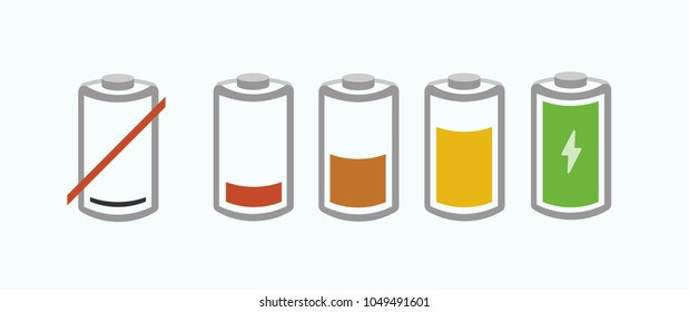 Realistic 3D battery charge indicator icons in vector graphics