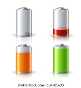 Realistic 3d battery icons set with full and low charge status energy level isolated vector illustration