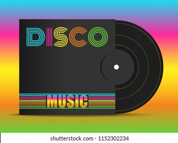 Realistic 3d black vinyl music record mockup in black cover with colorful font - Disco. Retro design disk template. Front view with shadow on rainbow color  background