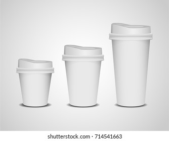 Realistic  3d blank paper coffee cup set of different size (small , medium , large) isolated on white background. Vector illustration