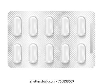 Realistic 3d blister pills.