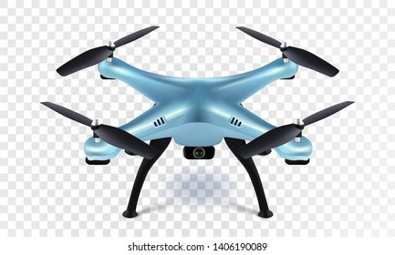 Realistic 3D blue drone quadcopter quadrocopter on transparent background. Vector eps10