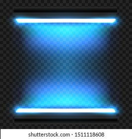 Realistic 3d blue long fluorescent light tube isolated on transparent background. Bright illuminated luminescence lamp. Vector illustration.