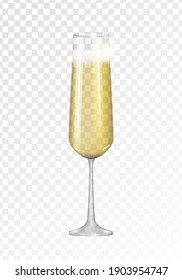 Realistic 3D champagne Golden Glass Icon isolated on transparent background. Vector Illustration