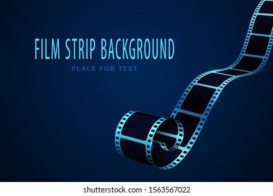 Realistic 3D cinema film strip in perspective. Film reel frame isolated on blue background. Vector template cinema festival. Movie design for brochure, leaflet, poster, tickets, banner or flyer.EPS 10