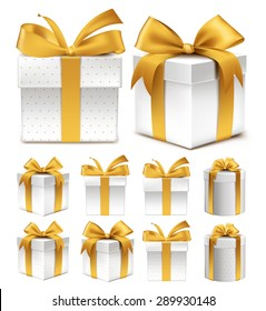 Realistic 3D Collection of Colorful Gold Pattern Gift Box with Ribbon and Bow for Birthday Celebration, Christmas, Party, Anniversary and Eid Mubarak. Set of Isolated Vector Illustration