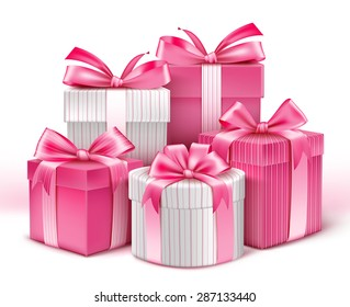 Realistic 3D Collection of Colorful Pattern Gifts for Ladies with Pink Ribbon for Birthday Celebration, Christmas, Valentines, Party, Anniversary and Eid Mubarak. Vector Illustration.