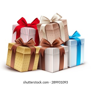 Realistic 3D Collection of Colorful Pattern Gift Box with Ribbon and Bow for Birthday Celebration, Christmas, Valentines, Party, Anniversary and Eid Mubarak. Isolated Vector Illustration