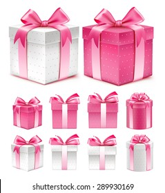 Realistic 3D Collection of Colorful Pink Pattern Gift Box with Ribbon and Bow for Birthday Celebration, Christmas, Party, Anniversary and Eid Mubarak. Set of Isolated Vector Illustration