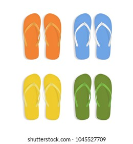Realistic 3d Colorful Flip Flops Beach Slippers Sandals Set Isolated on White Background Summer Foot for Fun Leisure, Travel and Vacation. Vector illustration