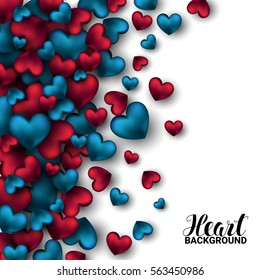 Realistic 3D Colorful Red and blue Romantic Valentine Hearts Valentine's love. Vector illustration Background