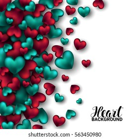 Realistic 3D Colorful Red and turquoise Romantic Valentine Hearts Valentine's love. Vector illustration Background
