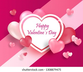 Realistic 3D Colorful Red and White Romantic Valentine Hearts Background Floating with Happy Valentines Day Greetings. Be my Valentin.Vector Illustration