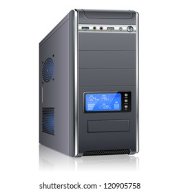 Realistic 3D Computer Case with LCD Display, isolated on white background. Isolated vector illustration