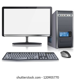 Realistic 3D Computer Case with Monitor, Keyboard and Mouse, isolated on white background. Vector illustration