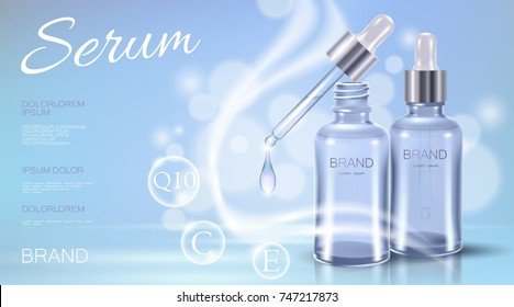 Realistic 3d cosmetic ad template. Light blue transparent glass essence bottle pipette oil vitamin bubble serum face care. Promotional poster template liquid water droplet vector illustration