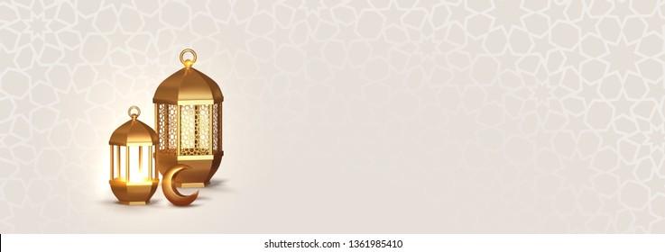 Realistic 3d Design arabian gold vintage lantern. horizontal banner, blank poster template, website header