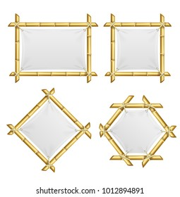 Realistic 3d Detailed Bamboo Shoots Frames Set with Template Blank White Textile. Vector illustration of Mock Up Frame