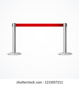 Realistic 3d Detailed Barrier Fence with Red Tape for Vip and Exclusive Entrance or Protect Zone. Vector illustration