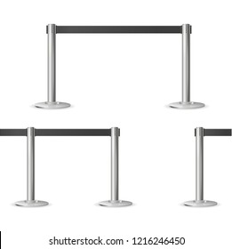 Realistic 3d Detailed Barrier Fence Set Various Types for Club and Museum. Vector illustration of Stand Barriers