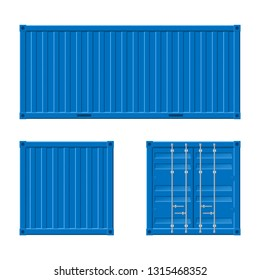 Realistic 3d Detailed Blue Cargo Container Set. Vector