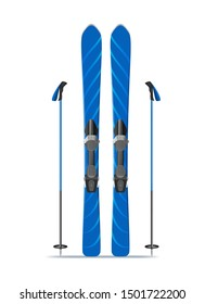 Realistic 3d Detailed Blue Ski with Stiks for Mountain Extreme Sport Isolated on a White Background. Vector illustration