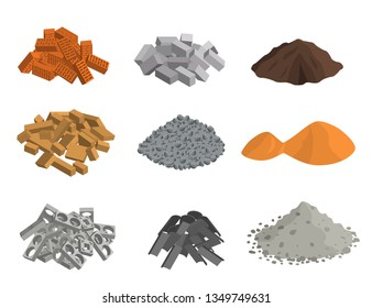 Realistic 3d Detailed Building Materials Set Include of Brick, Cement, Sand, Stone Gravel and Metal. Vector illustration