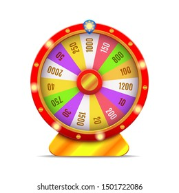 Realistic 3d Detailed Casino Fortune Wheel Isolated on a White Background Symbol of Luck Game. Vector illustration