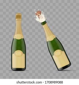 Realistic 3d Detailed Champagne Green Bottle Explosion Set on a Transparent Background Symbol of Celebration. Vector illustration