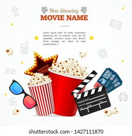 Realistic 3d Detailed Cinema Concept Banner Card with Place for Your Text. Vector illustration of Movie Placard