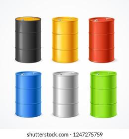 Realistic 3d Detailed Color Barrels Set for Oil, Gas, Petroleum, Gasoline or Petrol. Vector illustration of Barrel